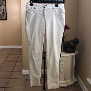 J. McLauglin 6 Skinny Velvet Pants Ivory